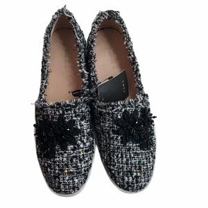 NWT Zara slip on tweed casual shoes size 39